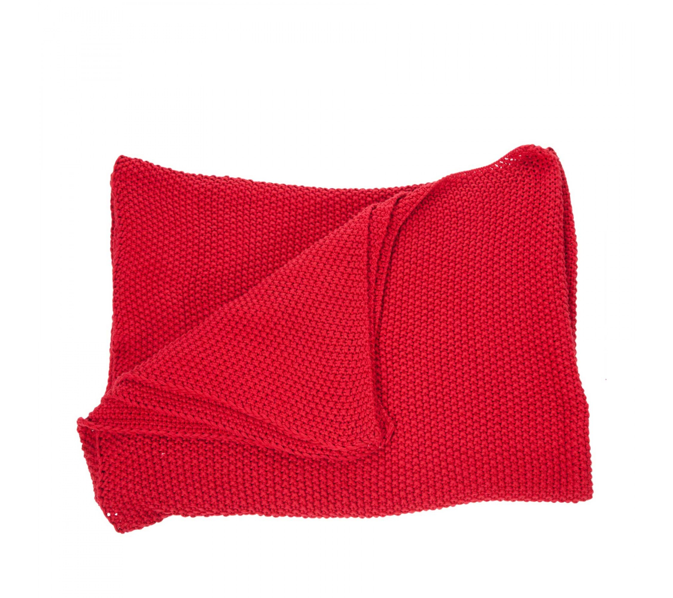 Strickdecke - Moss Throw red