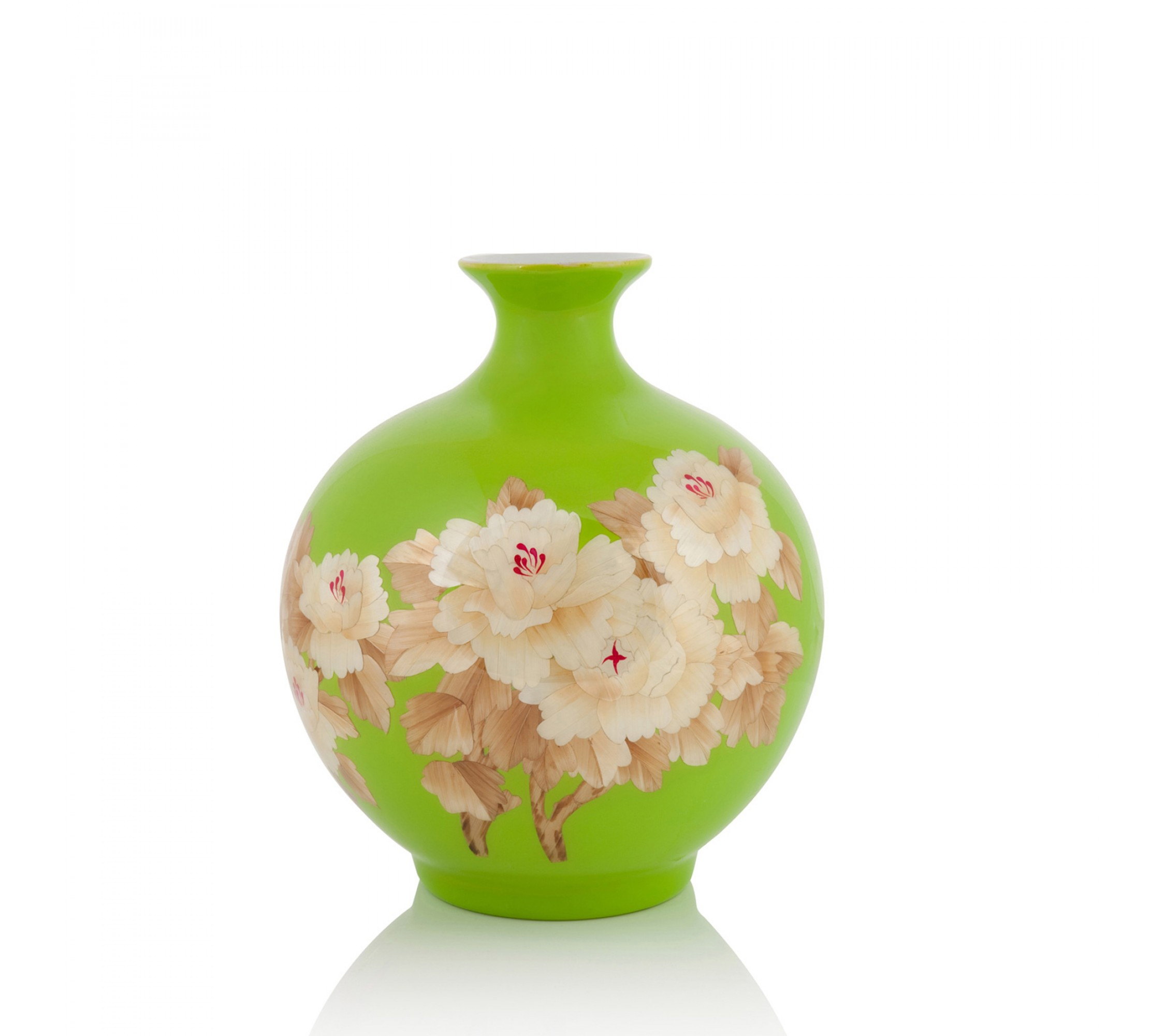 Vase Porzellan - Wheat Straw Sphere green