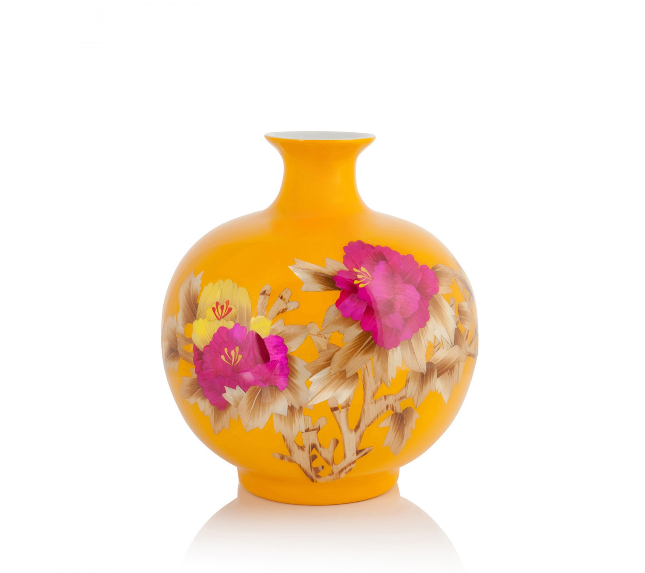 Vase Porzellan - Wheat Straw Sphere yellow