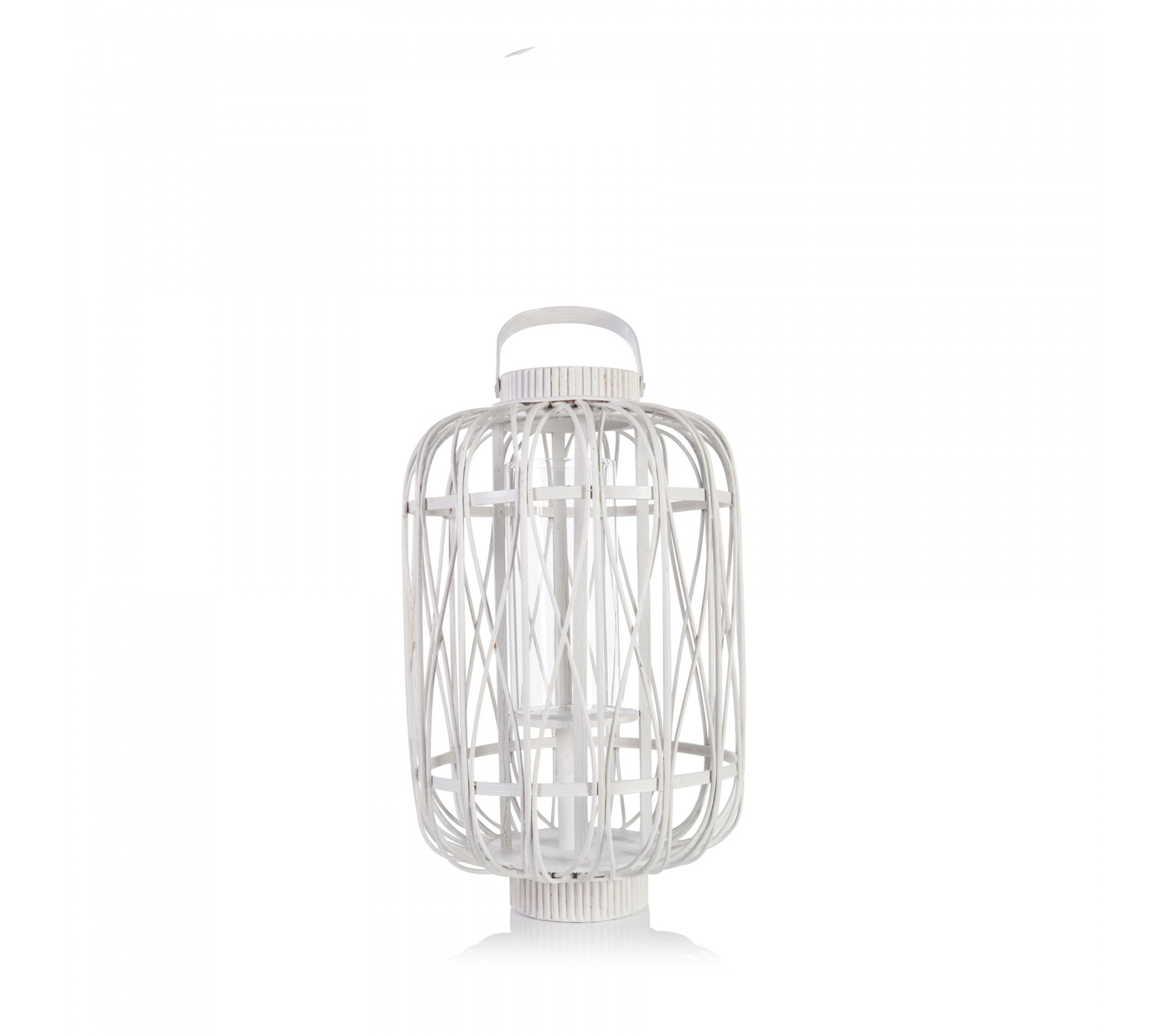 Laterne - Bamboo Lantern Small white