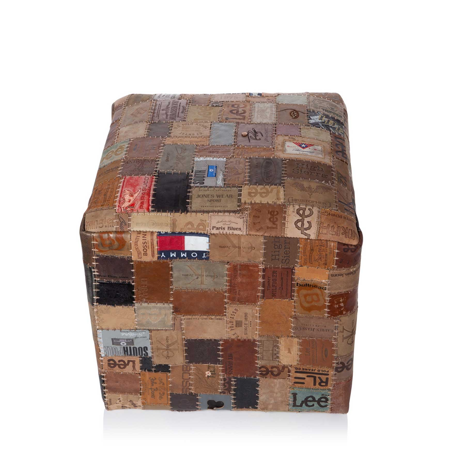 pouf jeans brand patchwork cuir von now s home. Black Bedroom Furniture Sets. Home Design Ideas